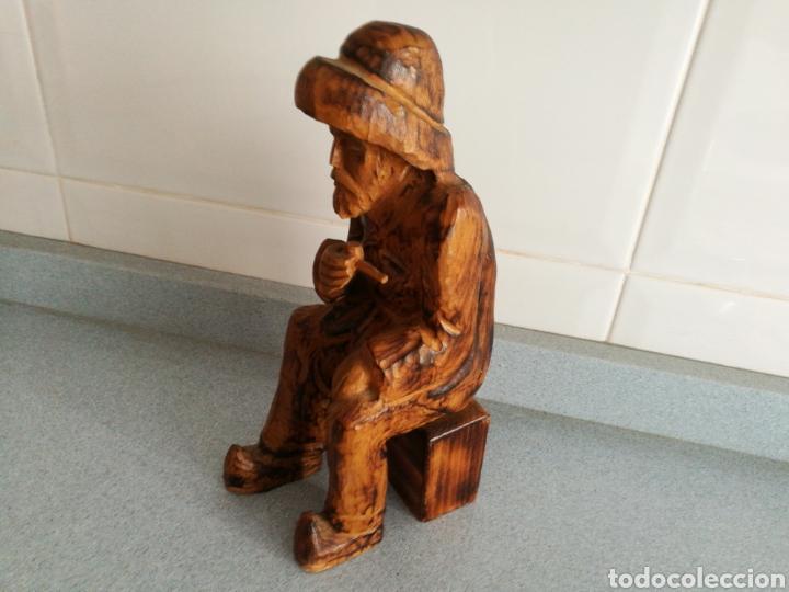 Artesanía: Figura antigua pescador sentado. De madera - Foto 2 - 83943863
