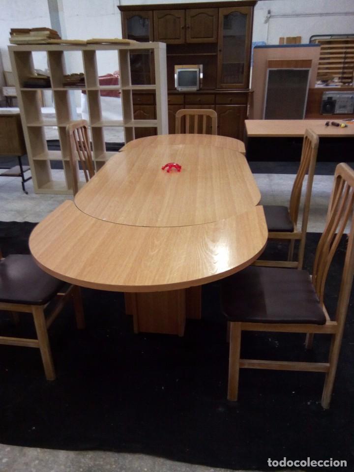 mesa comedor ovalada extensible madera y seis s - Kaufen ...