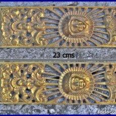 Artesanía: 2 PLACAS DE LATÓN 23 X 7,5 CMS....MUY DECORATIVAS. Lote 96039291