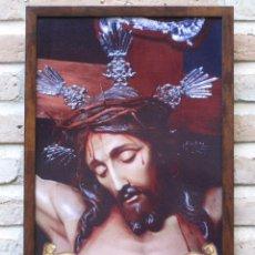 Artesanía: AZULEJO VIDRIADO DEL STMO. CRISTO DE LA PIEDAD, DE GUADAMUR ( TOLEDO ) ENMARCADO : 27,2 X 42,2 CMS.. Lote 99252915