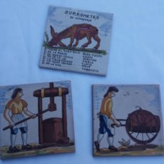 Artesanía: TRES PIECES DE AZULEJO 15X15 CM DE OFICIO ANTIGUO Y BURROMETRO BAROMETRO. Lote 108908847
