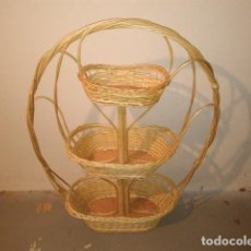 Artesanía: CESTO MIMBRE JARDINERA FRUTERO 3 ALTURAS. Lote 110129851