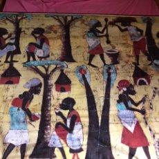 Artesanía: CUADRO DE TELA AFRICANA PINTADA A MANO. Lote 123135976