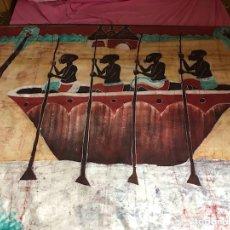 Artesanía: CUADRO DE TELA AFRICANA PINTADA A MANO. Lote 123136012
