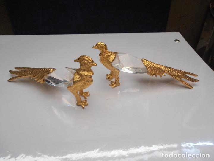 Artesanía: PAREJA DE FAISANES EN CRISTAL TALLADO Y METAL - Foto 2 - 123733531