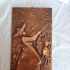 Artesanía: CUADRO REPUJADO EN CHAPA DE COBRE PATINADO, BRASIL. Lote 140280342