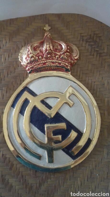 ESCUDO DEL REAL MADRID EN BRONCE , ESMALTADO. GRANDE (Artesanía - Hogar y Decoración)