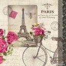 Artesanía: 5 X SERVILLETA DECOUPAGE DE 33 X 33 CM. MODELO PARIS. Lote 145471789