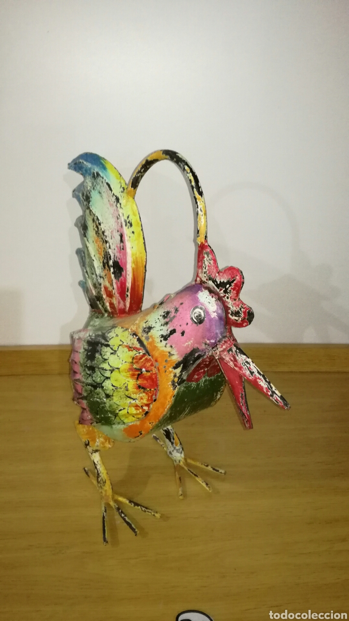 Artesanía: Bonito gallo de chapa vieja pintado - Foto 2 - 144130653