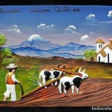Artesanía: CUADRO ARCILLA PLACA CERAMICA COCIDA BARRO EN RELIEVE PINTADO A MANO ARTESANIA POPULAR ECUADOR. Lote 147550289