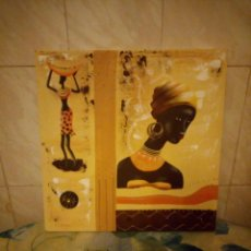 Artesanía: BONITO LIENZO PINTADO A MANO IMAGEN AFRICANA.. Lote 147468282