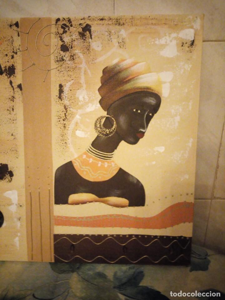 Artesanía: Bonito lienzo pintado a mano imagen africana. - Foto 2 - 147468282