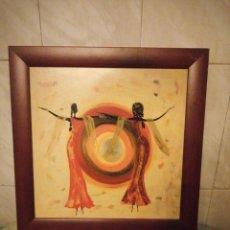Artesanía: BONITO CUADRO MOTIVO AFRICANO BAJO EL SOL,LAMINA ENMARCADA.. Lote 147468446