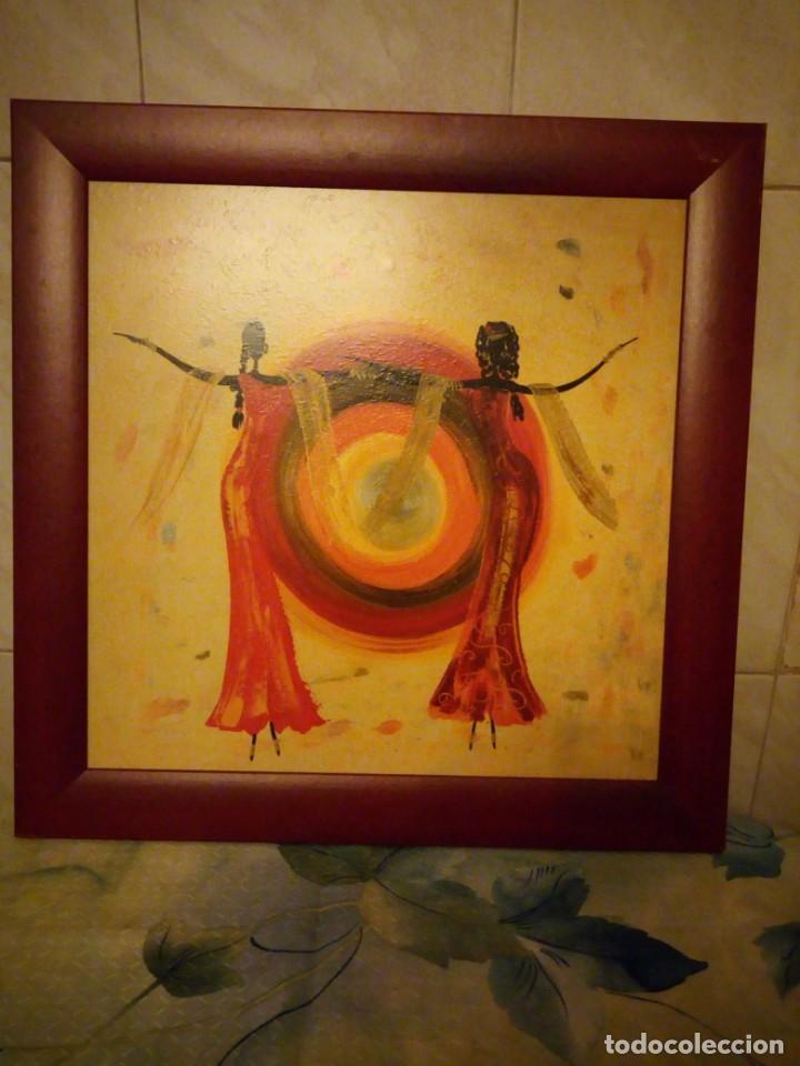 Artesanía: Bonito cuadro motivo africano bajo el sol,lamina enmarcada. - Foto 2 - 147468446