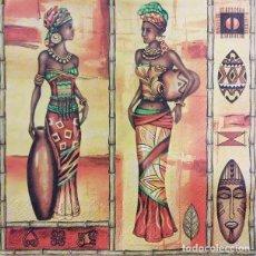 Artesanía: 4 X SERVILLETA DECOUPAGE DE 33 X 33 CM. MODELO AFRICANAS. Lote 148147274
