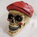 Artesanía: CALAVERA JAZZ SKULL RED DE 16X12 CM EN POLVO DE ALABASTRO.. Lote 151357648