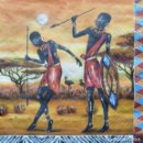 Artesanía: 36 X SERVILLETA DECOUPAGE DE 33 X 33 CM. MODELO AFRICANAS. Lote 150640074