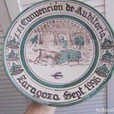 Artesanía: PLATO PUNTER-TERUEL CON MOTIVOS TAURINOS NUMERADA-XXI CONVENCION DE AUDITORIA ZARAGOZA SEPT 1996. Lote 155239958