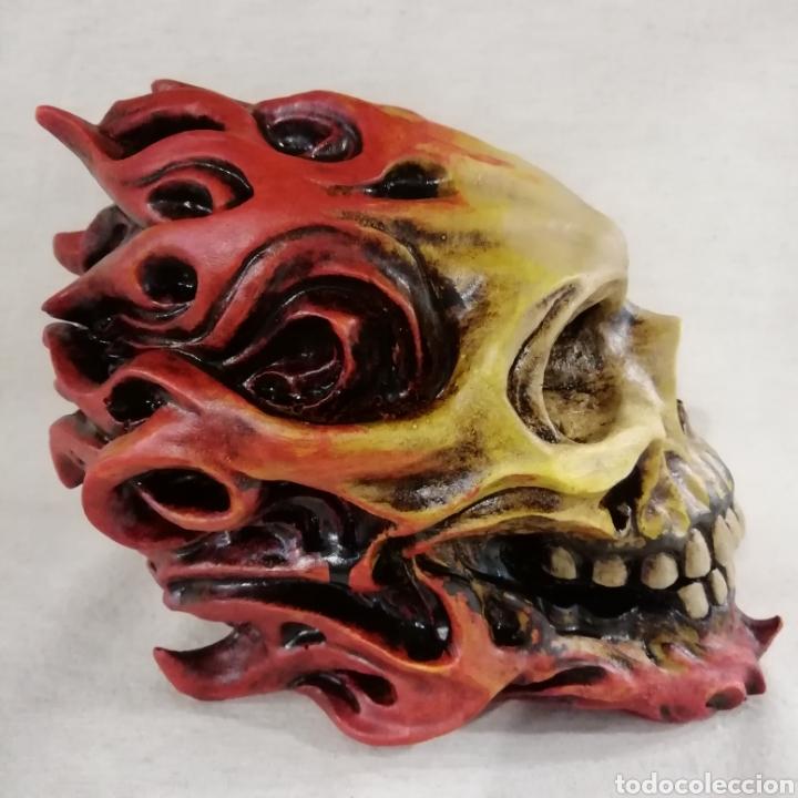 Artesanía: CALAVERA FLAME SKULL de 17x14 en polvo de alabastro - Foto 3 - 156775933