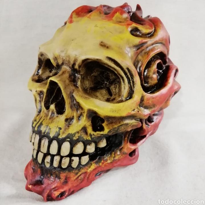 Artesanía: CALAVERA FLAME SKULL de 17x14 en polvo de alabastro - Foto 2 - 156775933