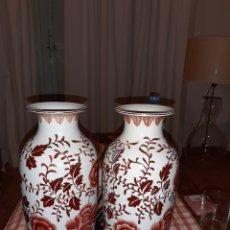 Artesanía: 2 JARRONES CHINOS, HECHOS A MANO , BORDE DORADO. Lote 156809754