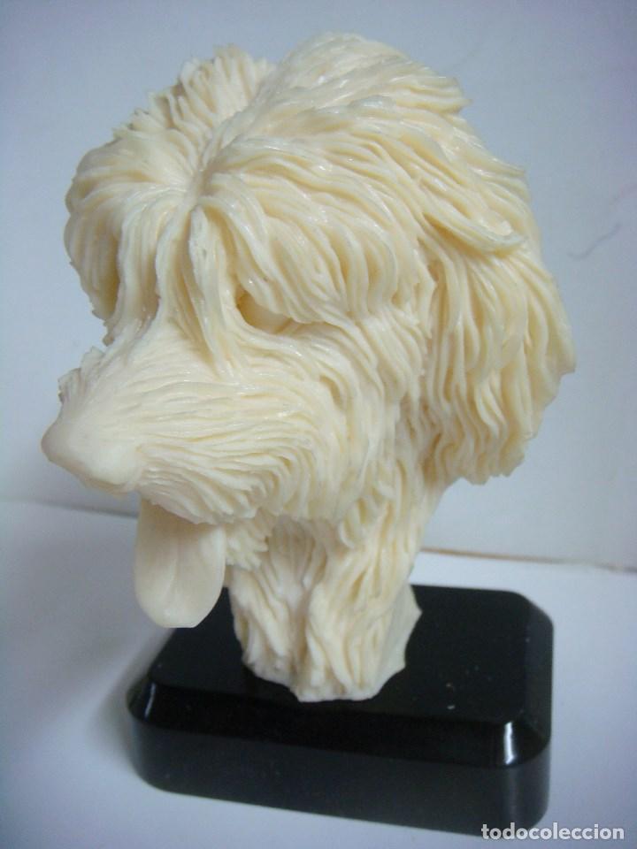 Figura Cabeza De Perro En Resina Pastor Ingles Color Crema