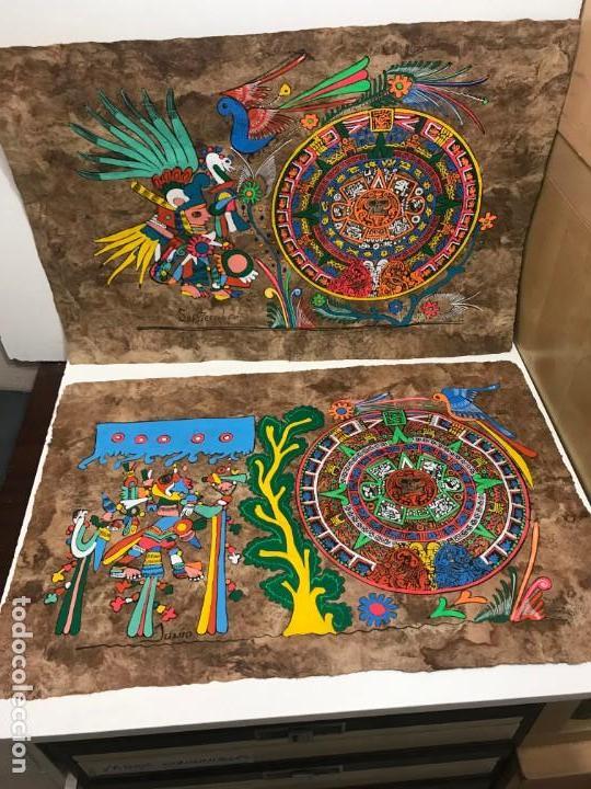 LOTE 3 PAPIROS EGIPCIOS PINTADOS A MANO (Artesanía - Hogar y Decoración)