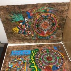 Artesanía: LOTE 3 PAPIROS EGIPCIOS PINTADOS A MANO. Lote 162866370