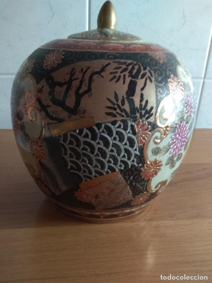 Artesanía: jarron chino tibor con plato 25 cm de alto 21 cm de diametro - Foto 2 - 169553236