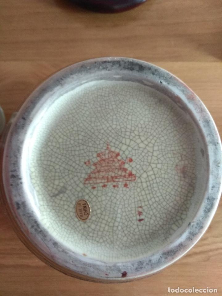 Artesanía: jarron chino tibor con plato 25 cm de alto 21 cm de diametro - Foto 5 - 169553236