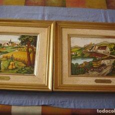 Artesanía: LOTE DE DOS CUADROS REALIZADOS EN CHAPA ESMALTADA AL FUEGO. Lote 172155943