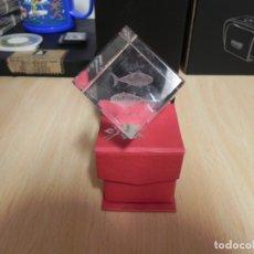 Artesanía: CUBO CRISTAL GRABADO 3D PEZ . Lote 172958059