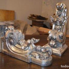 Artesanía: PAREJA DE PEANAS DE TALLA PLATEADAS. Lote 173369338