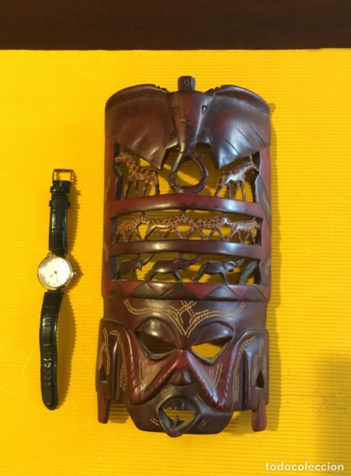 ANTIGUA MASCARA AFRICANA TALLADA MADERA (Artesanía - Hogar y Decoración)