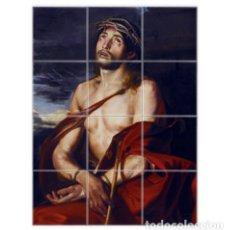 Artesanía: RETABLO CON 12 AZULEJOS 10X10 CTM DE JESÚS DEL ECCE-HOMO. Lote 176315470