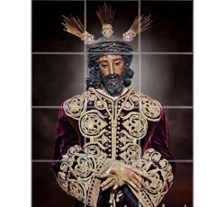 Artesanía: RETABLO DE 12 AZULEJOS 10X10 CTM DE NUESTRO PADRE JESÚS DE LA SENTENCIA DE SEVILLA. Lote 183695188