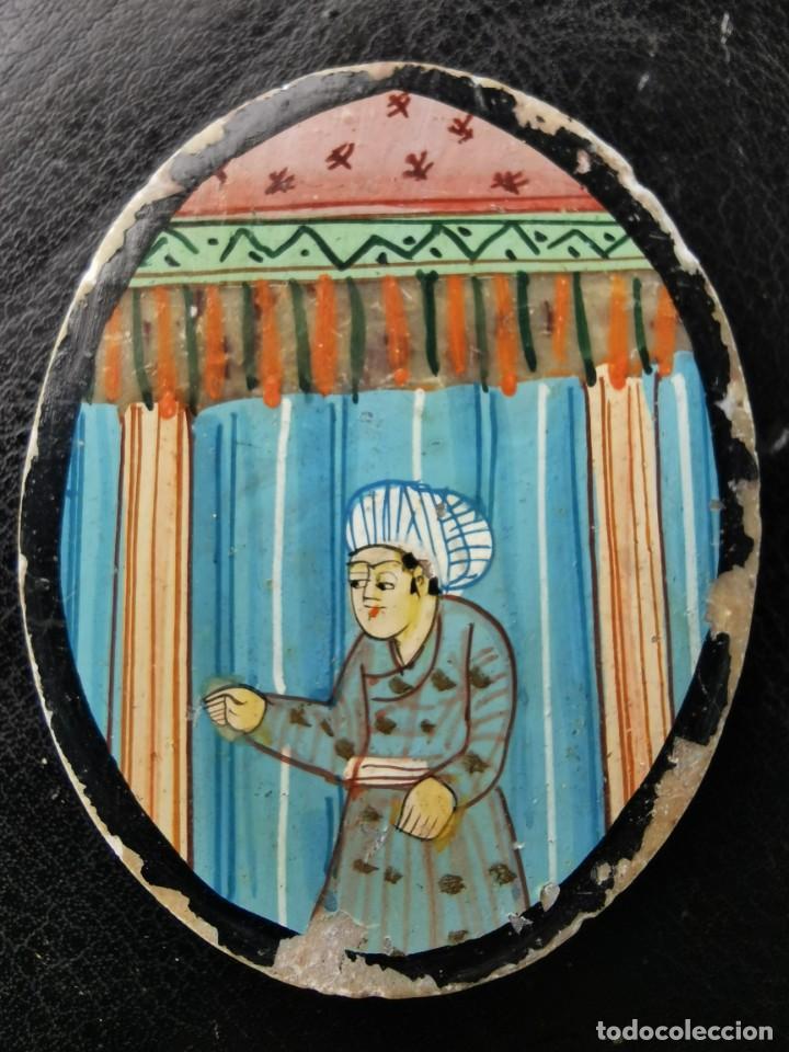 MEDALLON SOBRE MÁRMOL. PINTURA MINIATURA INDIA. SIGLO XIX (Artesanía - Hogar y Decoración)
