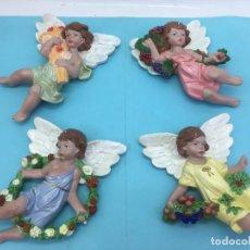 Artesanía: 4 ANGELITOS O QUERUBINES DE ESCAYOLA, PINTADOS A MANO, EXCELENTES DETALLES. Lote 188424528