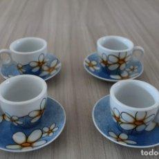 Artesanía: 4 TAZAS Y PLATITOS DE CAFE DECORADOS CON MARGARITAS ,CASA EGAN. Lote 191041637