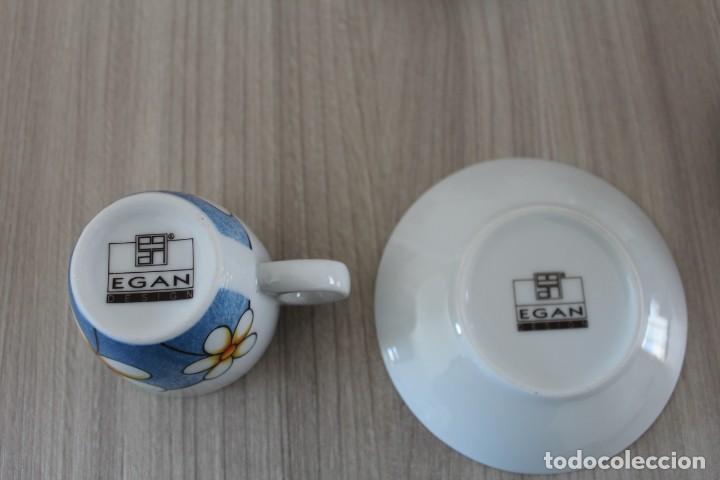 Artesanía: 4 Tazas y platitos de cafe decorados con margaritas ,casa Egan - Foto 2 - 191041637