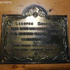 Artesanía: ANTIGUA PLACA DE COBRE DE PUBLICIDAD 11 X 10 INGLESA. Lote 194975075