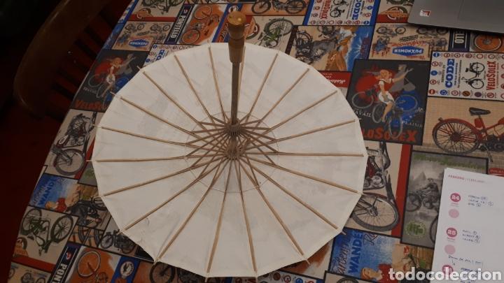 Artesanía: Sombrilla escena oriental parasol paragua papel madera 48 cm diámetro - Foto 4 - 195494733