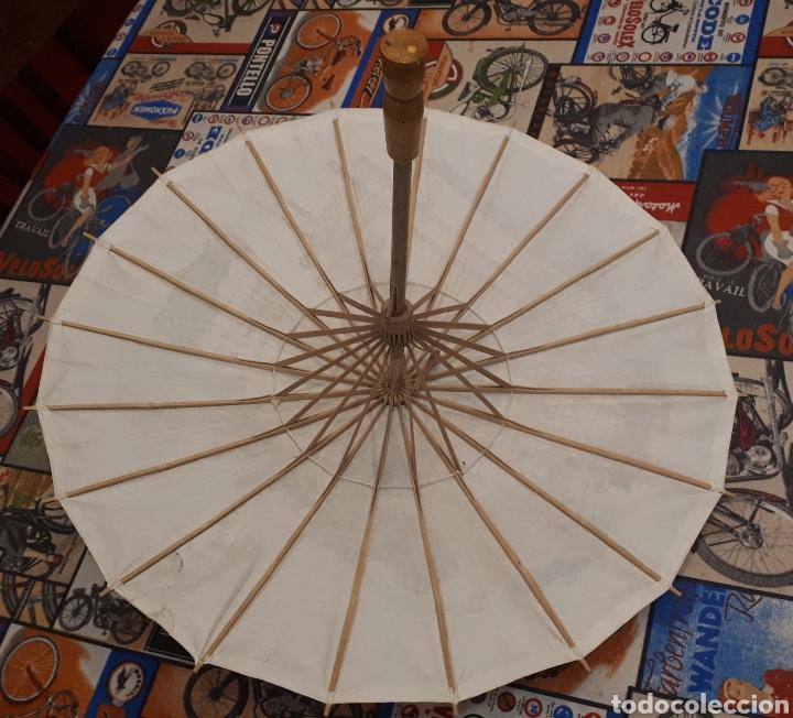 Artesanía: Sombrilla escena oriental parasol paragua papel madera 48 cm diámetro - Foto 5 - 195494733