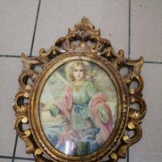 Artesanía: ANTIGUO MARCO CUADRO DE ESCAYOLA DORADO O PAN DE ORO IMAGEN ANGEL RELIGIÓN CRISTIANA. Lote 206499741