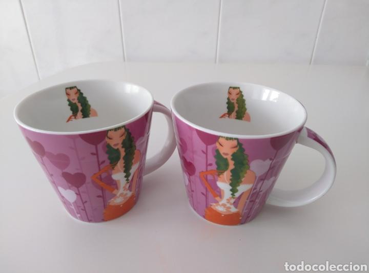 Artesanía: Dos Tazas de cerámica (iguales) con diseño chic. - Foto 2 - 212094516