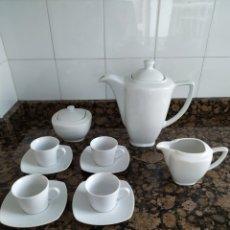 Artesanía: JUEGO CAFÉ PARA 4 PORCELANA BLANCA IRABIA. Lote 221980147