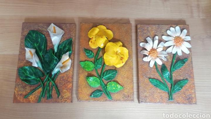 3 CUADROS DE FLORES ARTESANAL MIGA DE PAN. ARTESANÍA. 30 X 20 CM. (Artesanía - Hogar y Decoración)