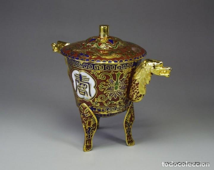 Artesanía: Incensario Chino esmaltado, incensario cloisonne chino, quemador incienso esmaltado con dragones - Foto 2 - 231307995