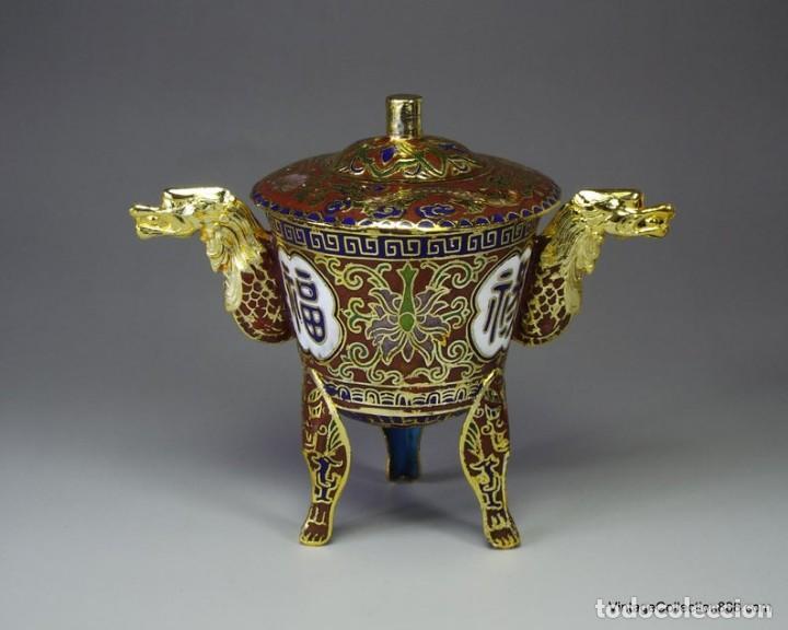 Artesanía: Incensario Chino esmaltado, incensario cloisonne chino, quemador incienso esmaltado con dragones - Foto 8 - 231307995