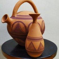 Artesanía: PAREJA DE VASIJAS DE BARRO; ALFAR IBERICO-CUENCA. PINTADAS A MANO.. Lote 238348095